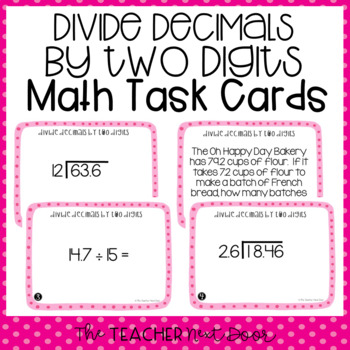 Divide Decimals by Two Digit  Divisors Task Cards for 5th Grade