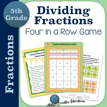 Divide Fractions 4 in a Row Partner Game Differentiated in