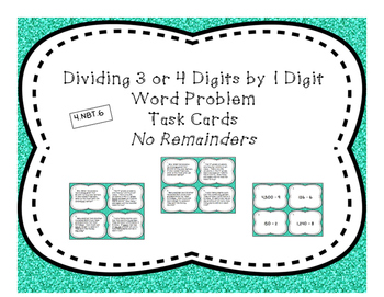 Dividing by 1 Digit Differentiated Word Problem Task Cards