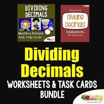 Decimal Division Task Cards and Division with Decimals Wor
