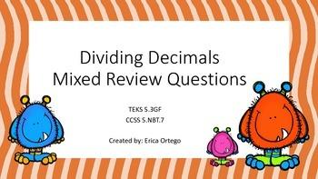 Dividing Decimals Mixed Review Activity Sheets 5.3F 5.3G 5.NBT.7