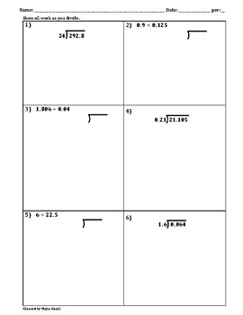 Dividing Decimals Practice Worksheet II