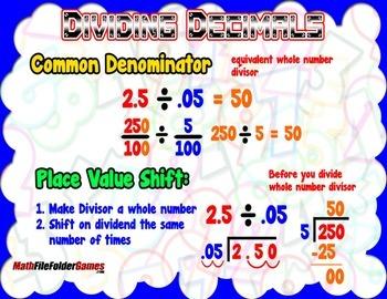 Dividing Decimals (Using Common Denominator Place Value) =