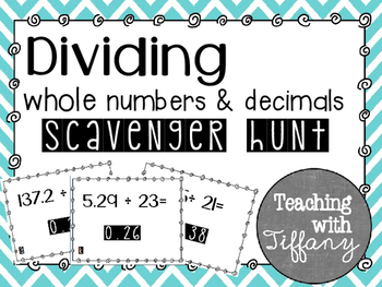 Dividing Decimals and Whole Numbers Scavenger Hunt TEKS 5.