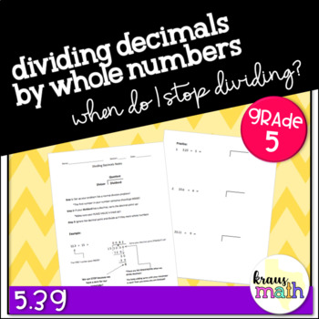 Dividing Decimals by Whole Numbers Notes