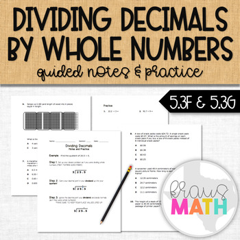 Dividing Decimals by Whole Numbers: Guided Notes & Mixed Practice