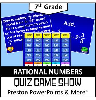 (7th) Quiz Show Game Rational Numbers in a PowerPoint Pres
