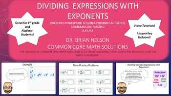 Dividing Expressions with Exponents - PowerPoint Lesson an