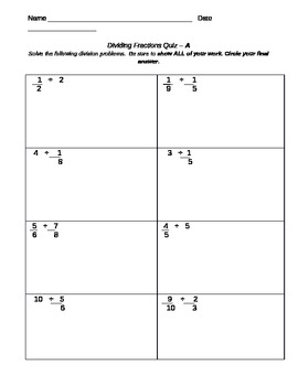 Dividing Fraction Quiz- Skills, Concepts, Written Communication