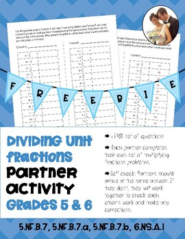 Dividing Fractions Partner Activity Freebie