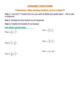Dividing Fractions - Practice