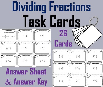 Dividing Fractions Task Cards Practice Activity: 4th 5th 6