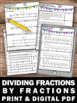 Dividing Fractions Using Visual Models Worksheets Common Core