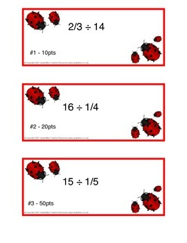 Dividing Fractions by Whole Numbers Task Cards (w/ answer key)