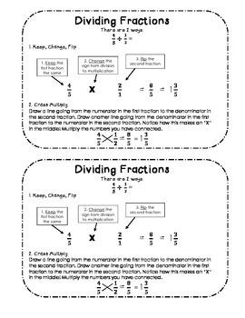 Dividing Fractions for Notebooks