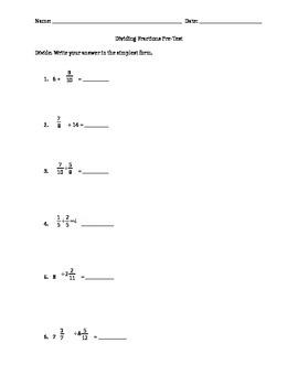 Dividing Fractions pre-test