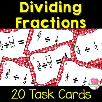 Dividing Fractions with Unlike Denominators- Set of 20 Task Cards
