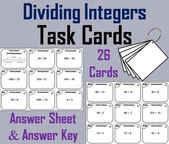 Dividing Integers Task Cards 6th 7th 8th Grade