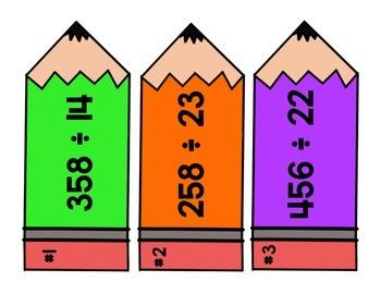 Dividing Pencil Task Cards - Set 2