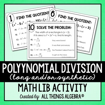 Dividing Polynomials (Long Division and/or Synthetic Divis