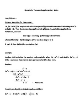 Dividing Polynomials, Synthetic Division, Remainder Theorem