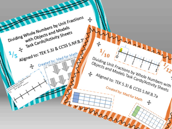 BUNDLE! Dividing Whole Numbers & Unit Fractions Task Cards