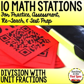 Dividing with Unit Fractions Test Prep Math Stations