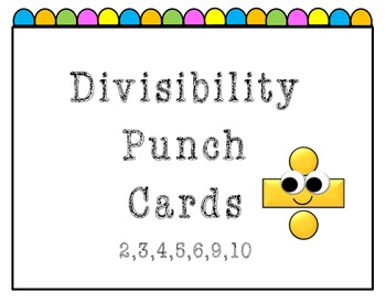 Divisibility Punch Card Set