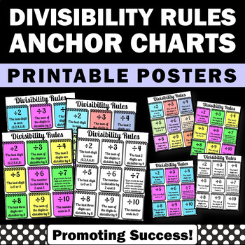 math division divisibility rules anchor charts posters centers