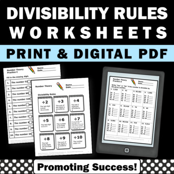 Divisibility Rules Worksheets { Multiples and Divisors }