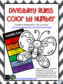 Divisibility Rules Color by Number