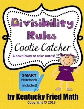 Divisibility Rules Cootie Catcher SMART Notebook & Printab