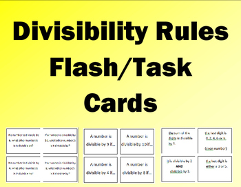 Divisibility Rules Flash/Task Cards for 2,3,4,5,6,8,9,10