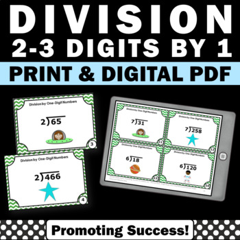 Long Division 2-3 Digit by 1 Digit with Remainders Task Ca