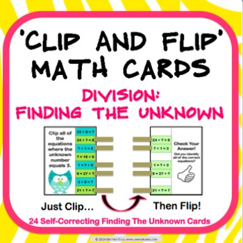Division Task Cards: Unknown in Division Facts (3.OA.A.4)