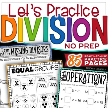 Division Facts Practice - Print & Go Pack for Division 3rd Grade