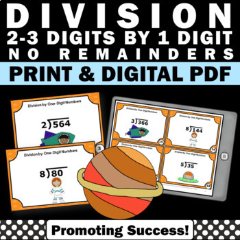 2-3 digit by 1 digit no remainders math games task cards 4th 5th grade