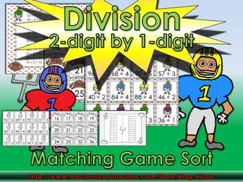 Division: 2-digit by 1-digit Matching Game Sort - Football