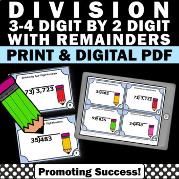 Long Division 3-4 Digit by 1 Digit with Remainders 4th 5th