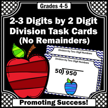 Long Division 3-4 Digit by 3 Digit Task Cards Without Remainders