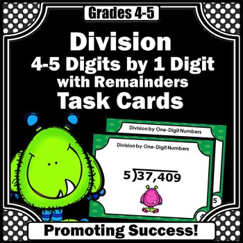 Long Division 4-5 Digit by 1 Digit with Remainders Task Ca