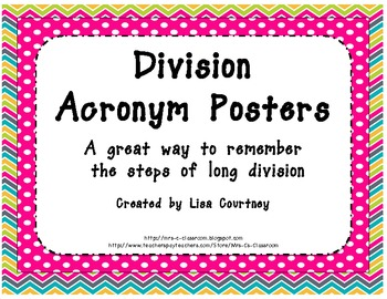 Division Acronym Cards - Easy Way to Remember Long Division