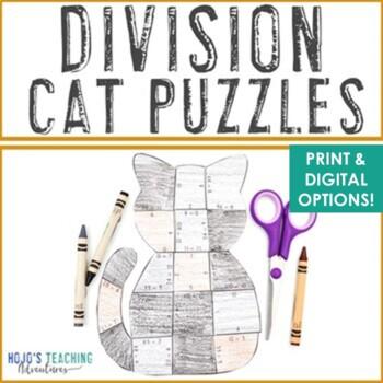 Halloween Math Centers: Division Cat Puzzles