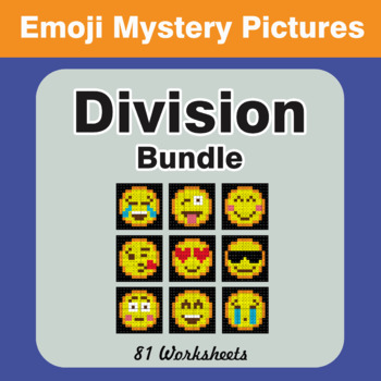 Division Color-By-Number EMOJI Mystery Pictures Bundle