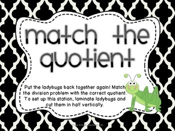 Division Equation Quotient Match {Bug Themed}