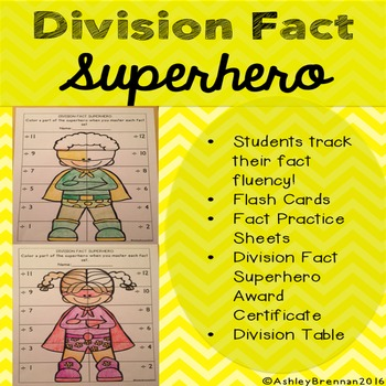 Division Fact Superhero-Fact tracking system - flash cards