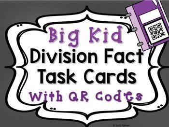 Division Facts (1 Digit Divisor) Task Cards for Big Kids w