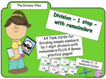 Division Facts - 1 step division with remainders task cards