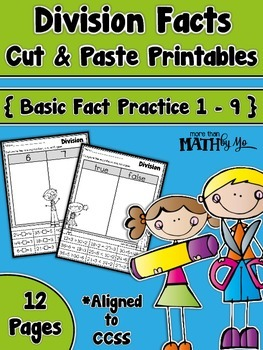 Division Facts Cut and Paste Printables {Basic Facts 1 - 9}