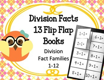 Division Facts Flip Flap Books.Math Interactive Notebooks.